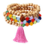 Original 108Pcs Wood Buddha Beads Multilayer Bracelet Colorful Agate