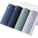 Original 4 Pieces Mens Mesh Breathable U Condex Ice Silk Comfy Boxer
