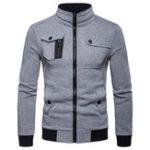 Original Mens Stand Collar Multi-pocket Jacket Black Coat Sweater