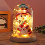Original Lovely Snowman Christmas LED Night Light Glass Dome Bell Jar with Glass Cover Wooden Base Decor