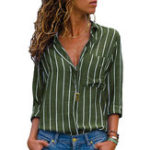 Original S-5XL Casual Striped Loose Long Sleeve Blouse with Pocket