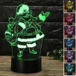 Original Christmas 3D Santa Claus LED Night Touch Color Changing Illusion USB Light Lamp
