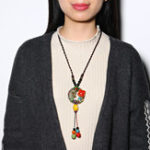 Original Ethnic Colorful Ceramics Beaded Tassel Necklace Flower Pendant Necklaces for Women Gift