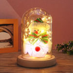 Original Fashion Latest Christmas Tree Lovely Snowman Glass Dome Bell Jar Christmas Night Light Glass Dome