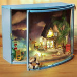 Original DIY LED Sea-view Dollhouse Miniature Wooden Furniture Kit Doll House Christmas Gifts