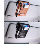 Original Leather Car Sun Visor Sun Glasses Clip Card Pen Holder Ticket Storage Driver License Package
