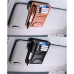 Original Leather Car Sun Visor Sun Glasses Clip Card Pen Holder Ticket Storage Driver License Package