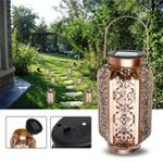 Original Solar Powered Vintage Metal LED Lantern Light Outdoor Garden Landscape Yard Lamp