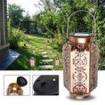 Original Solar Powered Vintage Metal LED Lantern Light Outdoor Garden Landscape Yard Lamp