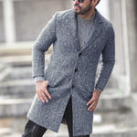 Original ChArmkpR Mens Wollen Single Breasted Busniess Trench Coat