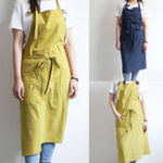 Original VONDA 8-24 Women Men Chefs 100%Cotton Panifore Aprons Cooking Baking Pockets Solid Long Dress