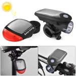 2 PCS 3W 240LM USB Solar Energy Motorcycle / Bicycle Light Set, Front Light+Back Light(Black)