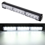DC 12V 16.8W 12LEDs Crystal Lamp Beads Three Sections Car Long Strobe Warning Lamp 18 Flash Patterns(Adjustable) (White Light)
