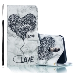 Heart + Marble Pattern Horizontal Flip Leather Case for Huawei Mate 20 Lite, with Holder & Card Slots & Wallet & Lanyard (Black)