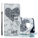 Heart + Marble Pattern Horizontal Flip Leather Case for Huawei Mate 20 Pro, with Holder & Card Slots & Wallet & Lanyard (Black)