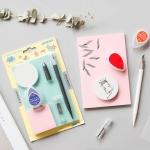 Carved Rubber Novice DIY Set Water Droplet Inkpad Pen Knife Carving Rubber Set (Random Color Delivery)
