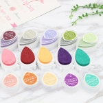 6 PCS Water Droplets Inkpad Kids Favors Ink Stamp Pads Colorful Ink Pad DIY Scrapbooking Drop Shape, Random Color Delivery