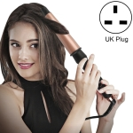 1-1.5 inch Conical Ceramic Hair Curler with Heat-resistant Gloves , UK Plug (Rose Gold)