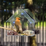 Creative Plastic Transparent Adsorption House Type Bird Feeder