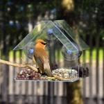 Creative Plastic Transparent Adsorption House Type Bird Feeder