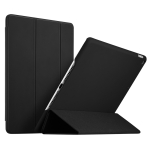 ESR Yippee Color Gentility Seires Silicone Back Cover Three-folding Leather Case for iPad 9.7 (2018) / (2017), with Sleep / Wake-up Function(Black)