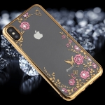 Flowers Pattern Diamond Encrusted Electroplating Soft TPU Case for iPhone XS Max (Gold)