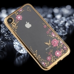 Flowers Pattern Diamond Encrusted Electroplating Soft TPU Case for iPhone XR (Gold)