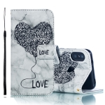 Heart + Marble Pattern Horizontal Flip Leather Case for Xiaomi Redmi 6 Pro, with Holder & Card Slots & Wallet & Lanyard (Black)