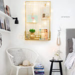 Original Gold Wire Rack Metal Photo Modern Wall Hanging Shelf Storage Organizer Baskets w/ LED