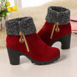 Original Ankle Fur Round Toe Winter Snow Chunky Heel Boots