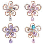 Original Elegant Crystal Flower Brooch Colorful Scarf Jewelry Clothing Accessories for Her