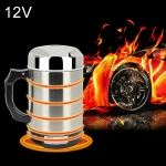 DC 12V Stainless Steel Car Electric Kettle Heated Mug Heating Cup with Charger Cigarette Lighter for Car, Capacity: 880ML