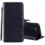Litchi Texture Horizontal Flip Leather Case for Huawei Mate 20 Pro , with Holder & Card Slots & Wallet & Lanyard (Black)