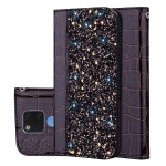 Crocodile Texture Glitter Powder Horizontal Flip Leather Case for Huawei Mate 20, with Card Slots & Holder (Black)