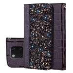 Crocodile Texture Glitter Powder Horizontal Flip Leather Case for Huawei Mate 20 Pro, with Card Slots & Holder (Black)
