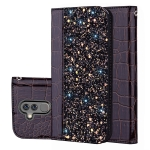 Crocodile Texture Glitter Powder Horizontal Flip Leather Case for Huawei Mate 20 lite, with Card Slots & Holder (Black)