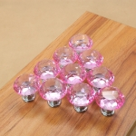 10 PCS 30mm K9 Clear Crystal Glass Chromium-plated One-hole Drawer Handle(Pink)
