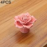 4 PCS 41mm Rose Shape Modern European Literary Color Glazed Ceramic Cabinet Drawer Handle(Pink)