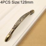 4 PCS 2802 Green Bronze Cabinet Wardrobe Door Drawer Vintage Zinc Alloy Solid Handle, Hole Distance: 128mm