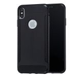 Carbon Fiber Anti-slip TPU Protective Case for iPhone XS / X(Black)