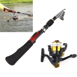 1.6m Straight Shank 7 Sections Portable Telescopic Fishing Pole with Fishing Reel, Min Length: 38.5cm