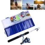 150 PCS Fishing Set 6 Sections 0.44m-1.6m Portable Telescopic Fishing Pole with Fishing Reel & Baits & Treble Hooks & Fishing Supplies Gadgets
