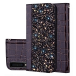 Crocodile Texture Glitter Powder Horizontal Flip Leather Case for Galaxy A7 (2018), with Card Slots & Holder (Black)
