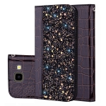 Crocodile Texture Glitter Powder Horizontal Flip Leather Case for Galaxy J4+, with Card Slots & Holder (Black)