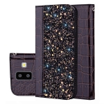 Crocodile Texture Glitter Powder Horizontal Flip Leather Case for Galaxy J6+, with Card Slots & Holder (Black)