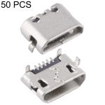 50 PCS Micro USB 5P/F Connector Fixed Foot Opposite without Crimping