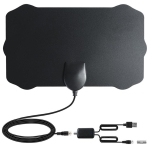 TY22D 50 Miles Range 25dBi High Gain Amplified Digital HDTV Indoor TV Antenna with 3.7m Coaxial Cable & LED Light