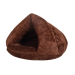 Triangular Cat Kennel Warm Thicken Mongolian Yurt Pet Dogs Cats House Size: L, 45×45×33cm (Dark Coffee)