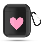 Heart Pattern Apple Wireless Earphones Charging Box Dust-proof Shockproof Outdoor Protective Case for Airpods(Black)