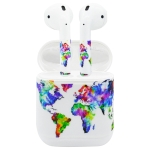 Airpods Earphones Charging Box PVC World Map Pattern Sticker for iPhone 7 Earphone